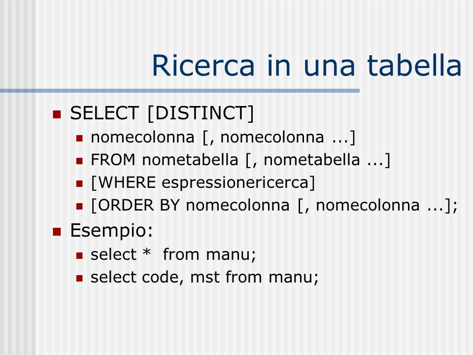 Ricerca in una tabella SELECT [DISTINCT] Esempio: